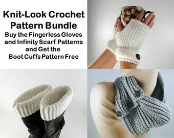 Knit Look Crochet Pattern Bundle - Fingerless Glove Crochet Pattern - Infinity Scarf Crochet Pattern - Boot Cuffs - Instant Download PDF