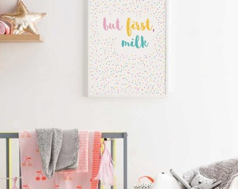 But First Milk Nursery Quote, Baby Girl Nursery Wall Art, Scandinavian Nursery Decor Breastfeeding Print Baby Shower Gift Cute Baby Room Art