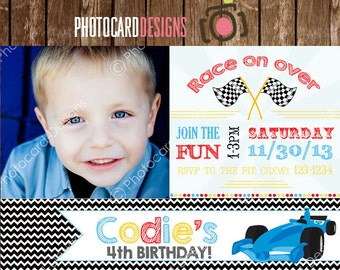 Race Car Birthday Invitation, Racing Birthday, Car Invitation, Race Car Birthday, Photo Invitation, Digital, Printable, invite, Party, Boy