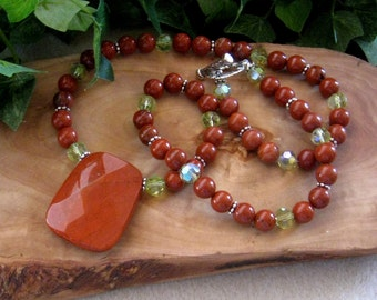 Red Jasper, Glass Beads, Gemstone Beaded Necklace, Artisan Jewelry, Handmade Necklace, Beaded Necklace, Statement Necklace, Big Bold Jasper