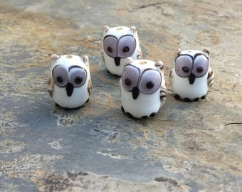 White Owl Beads, Bird Beads, Owl Beads, 16mm, 4 Beads per package