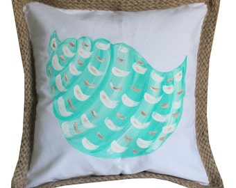 Turquoise Shell Hand Painted Beach Pillow