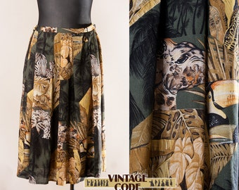 80s 90s vintage Tropical Jungle  Animal print skirt / High waist mid length skirt / Extra Large Plus size