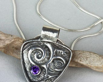 Silver Shield with Swirls Pendant, With Amethyst Cubic Zirconia