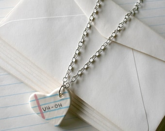 UH-OH Heart Notebook Ceramic Necklace