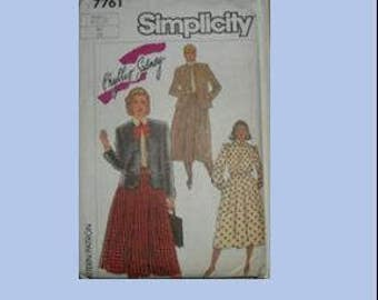 SIMPLICITY 7761, sewing pattern, vintage, retro, womens dress, size 24 1/2, sewing, pattern