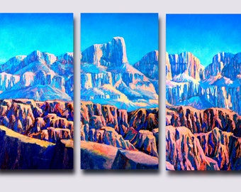 Southwest Canyon Triptych, modern landscape in blues and reds
