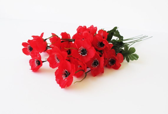 Grand sale 25 poppies artificial flowers silk poppy branches grand sale 25 poppies artificial flowers silk poppy branches windflower bouquet anemone red green black 18 floral accessory faux fabric from flowersfield mightylinksfo
