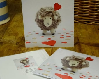 Red 'Love Ewe' Greetings Card ~ Blank Greetings Card From Original Needlefelt Sheep Sculpture ~ Mother's Day