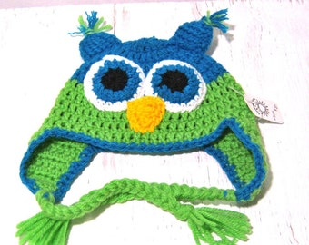 Toddlers Owl Beanie, Winter Hat, Photo Prop,   Earflap Hat,Turquoise Blue and Lime Green , Crocheted, Animal hat, Handmade.