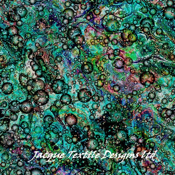 Colorful Bubbles Teal Artisan Made Kona Cotton Quilting Textile Art Fabric Panel Fiber Art