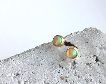 14k gold opal earrings, sparkly opal studs, gold opal studs, opal jewelry
