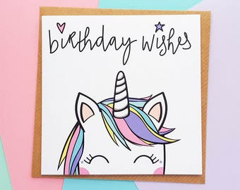 Unicorn Birthday Card, Cute Unicorn Card, Rainbow Unicorn Card, Kawaii Unicorn, Unicorn Gifts, Unicorn Lover, Magical Unicorn Card