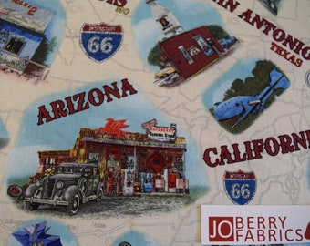 Route 66 Landmarks by Jean Plout for Blank Quilting.  Quilt or Craft Fabric, Fabric by the Yard.