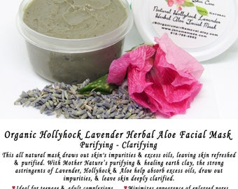 Lavender Hollyhock Facial Mask, Organic face mask, Pore cleanser, Facial mask, Clay mask, Face mask, Natural mask, Natural skin care, 2 Oz