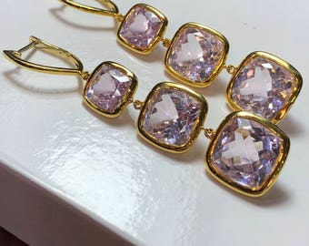 18K gold Kunzite earrings