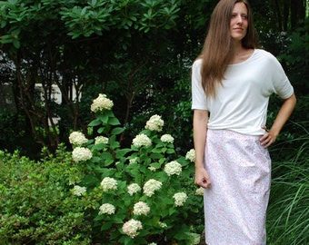 Pink and Green Spring Dots Vintage Style Knee Length Skirt