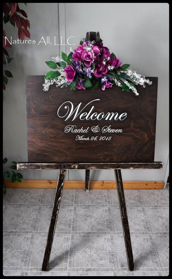 Wedding Sign-Welcome/ Welcome Sign AND Large Floor Easel/Rustic Wedding Sign/Custom Wedding Sign/Wood Wedding Sign/Wedding Reception Sign