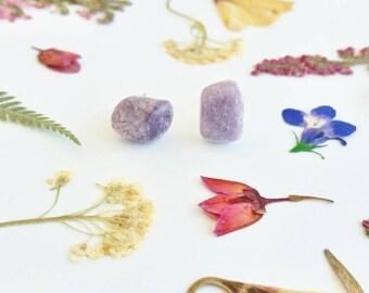 Raw Crystal Earrings Lepidolite Stud Earrings