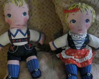 Vintage Cloth Dolls Boy Girl / Twin Dolls / 40s Swiss Rag Dolls / Cut and Sew Dolls