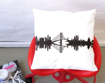 Throw Pillow Cover SAN FRANCISCO Skyline Pillowcase - 16 x16 Cotton Twill - Hand Screen Print - Original Design Home Décor  by 44spaces