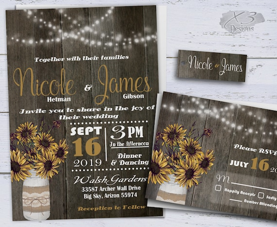 Cheap Sunflower Wedding Invitations: Printable Country Wedding Invitations Sunflower Wedding