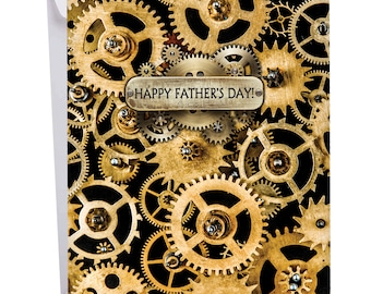 J2014GFDG Jumbo Father's Day Card: Gearing Up Feature Cogs Gears and Other Things That Make Machines Tick, With Envelope