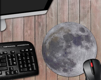 Moon 8 Inch Round Novelty Computer Mousepad - Novelty Mouse Pad - Astronomy - Planet - Solar System - Free Shipping