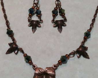 Necklace and Earrings Set Copper Dark Green Leaf  #327 One Of A Kind