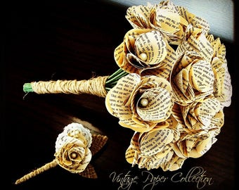 Book Page Bouquet, Book Page Boutonniere, Book Bouquet, Book Flowers, Paper Roses, 18 Paper Roses, Storybook Wedding (Item: TPG72)
