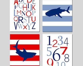 Shark Wall Art Shark Prints Shark Room Decor Shark Nursery Art Shark Decor Shark Bedroom Art for Boys Set of 4 Prints - CHOOSE YOUR COLORS