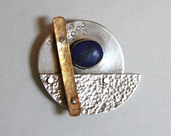 Stu Kraft 1 of 2 vintage 1980s modernist Gold Sterling Silver pin Lapis pin brooch artisan made jewelry signed mid century modern