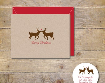 Christmas Cards, Deer Christmas Cards, Deer, Reindeer, Holiday Cards, Mistletoe, Christmas Card Set, Holiday Card Set