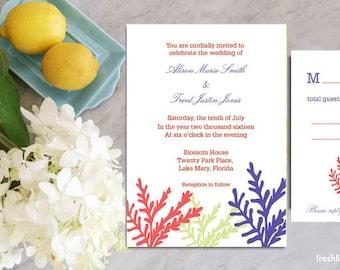 printable wedding invitation suite, beach wedding theme