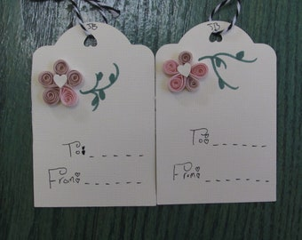 Pink Flower Tags