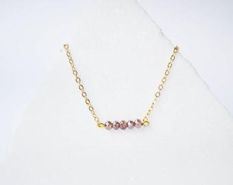 Crystal bar necklace, Gold bar necklace,Bar necklace, Bar necklace Gold, Crystal necklace, Dainty necklace, Simple Gemstone necklace.