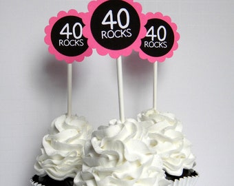 40 Rocks - 40th Birthday Cupcake Toppers, Hot Pink and Black Set of 12