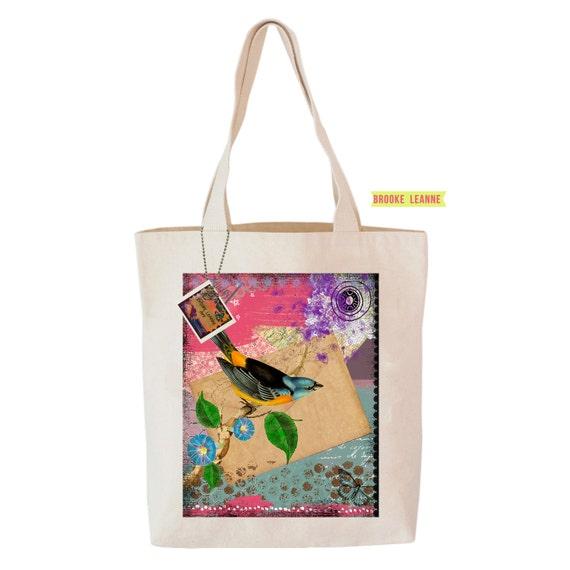 Bird Tote Bag, Reusable Shopper Bag, Farmers Market Bag, Cotton Tote, Shopping Bag, Eco Tote Bag, Reusable Grocery Bag, Printed in USA