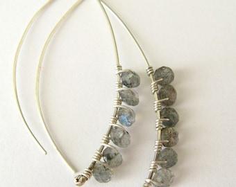 labradorite and sterling silver petal earrings