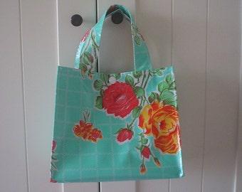 Beth's Aqua Vintage Rose Oilcloth Lunch Box