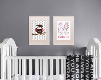 Owl Print Set, Alphabet Print with Name, Custom Name, Birthdate, Owl Nursery, Owl family, Nursery Print, Item 036