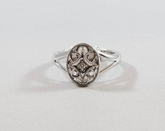 Sterling Silver .025 CT Diamond Filigree Ring