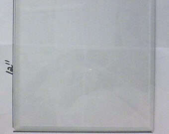"6 Pieces of 12"" x 12"" clear beveled glass, 1/2 inch bevel, 1/8"" thick. (6 pieces per order)"