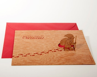 pop up card wood with envelope - 3 santa claus cards