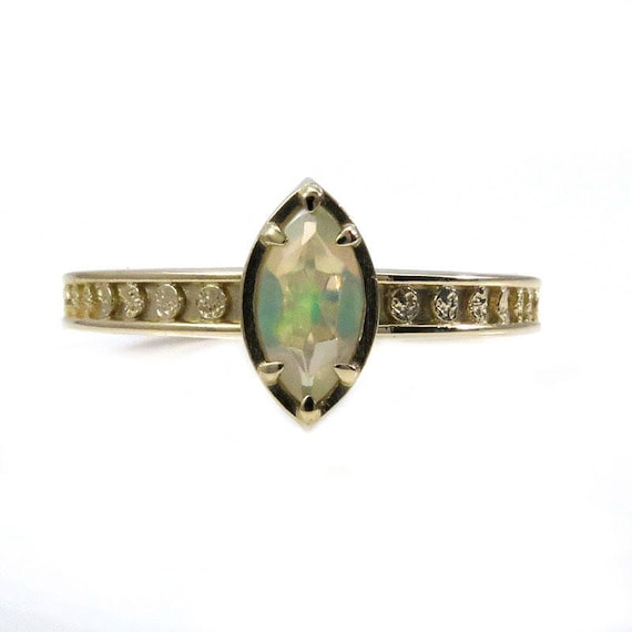 Opal Marquise Moon Phase Gold Solitaire Engagement Ring - Fine Bohemian Jewelry