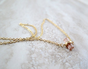 Mini Pink Cylinder Gold Chain Necklace