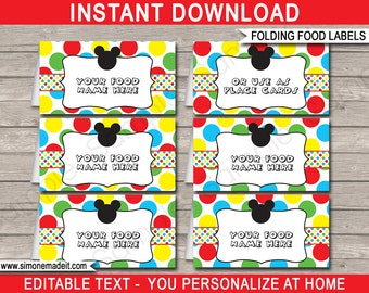 Mickey Mouse Food Labels - Mickey Mouse Theme Party - Food Tags - Placecard - Printable Party Decorations - INSTANT DOWNLOAD - EDITABLE text