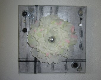 Table with artificial flowers, White Peony, collage, 3D, floral, flower arrangement, wedding, gift