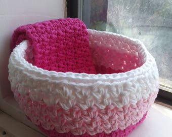 Nesting Bowls, Catch All Bowl, Crochet bowls, Storage, Valentines Bowl, Spa Bowl, Pretty Pink Ombre Bowl,