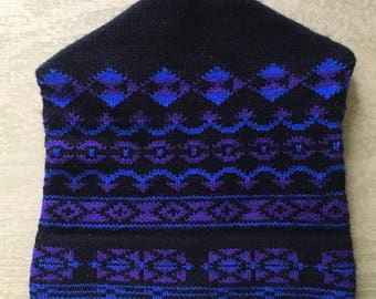 Amazing Machine Knit Purple, Blue, Black Winter Hat